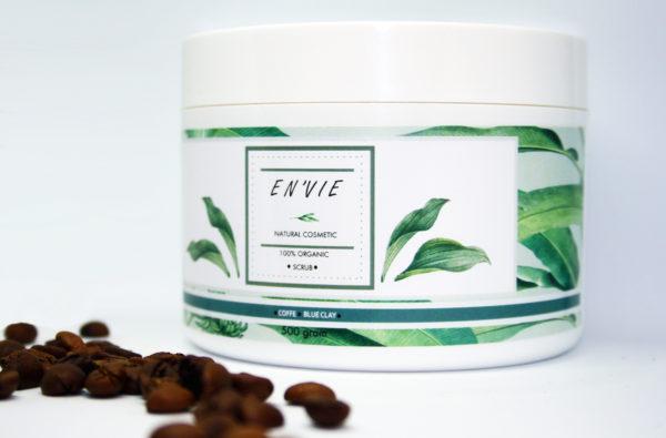 Купить натуральный кофейный скраб для тела с оливковым маслом и голубой глиной - натуральная косметика в Украине - envie.com.ua (композиция)